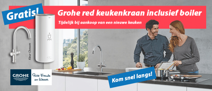 Grohe red keukenkraan kleur chroom incl. boiler, gratis bij aankoop nieuwe keuken
